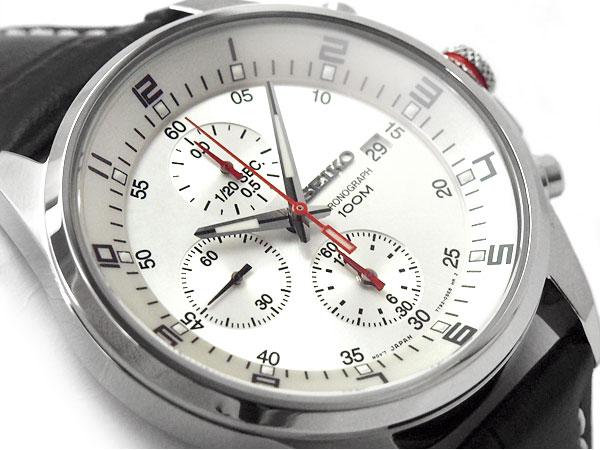 【逆輸入SEIKO】セイコー クォーツ クロノグラフ搭載モデル デイデイトカレンダー メンズ 腕時計 シルバーダイアル ブラックレザーベルト SNDC87P2【あす楽】