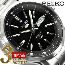 【10/23 0:00〜10/25 23:59 最大25,000円OFFクーポン配布中】SEIKO 逆輸入セイコー メンズ メカニカル 自動巻 腕時計 ブラック 5スポーツ SNKP11K1