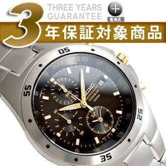 Seiko foreign model men's Chronograph Watch black / gold dial Titan belt SND451P1
