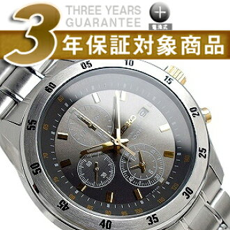 Seiko men's 1 / 20 sec high speed Chronograph Watch metallic gray x Gold Dial stainless steel belt SNDC51P1