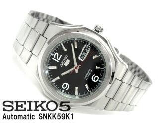 精工 5 男装自动手表黑色表盘银色不锈钢带 nkk59k1