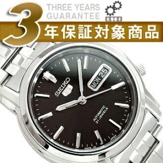 拧男子精工5自动,并且是手表黑色拨盘不锈钢皮带SNKK71J1