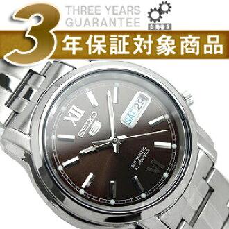 精工 5 男士自动手表棕色表盘银色不锈钢带 SNKK79K1