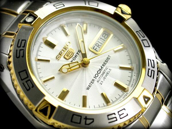 【日本製逆輸入SEIKO5SPORTS】セイコー5メンズ自動巻き腕時計 ギョーシエシルバーダイアル シルバー×ゴールドコンビステンレスベルト SNZB24J1【あす楽】