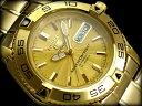 【日本製逆輸入SEIKO5SPORTS】セイコー5 メンズ自動巻き腕時計 オールゴールド ギョーシエゴールドダイアル ゴールド…