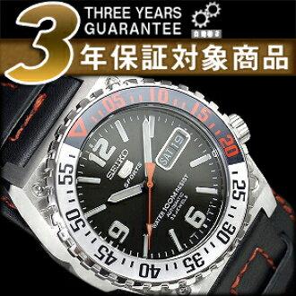 精工五自動卷式手錶黑色撥盤手鐲型黑色皮革皮帶SNZD81K1