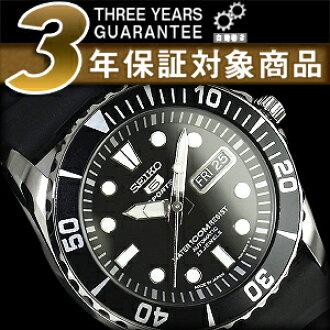 セイコーファイブ calendar day date mens automatic watch black bezel black dial polyurethane belt SNZF17J2