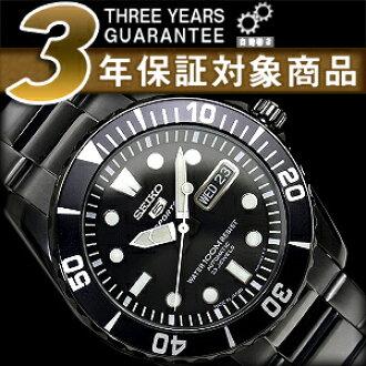 精工 5 男士自动手表黑色黑色表盘黑色不锈钢带 SNZF21J1