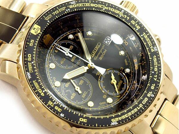 【正規品 逆輸入 SEIKO】セイコー クォーツ パイロットアラームクロノグラフ メンズ腕時計 ゴールド ブラックダイアル ゴールドステンレス SNA414P1【あす楽】