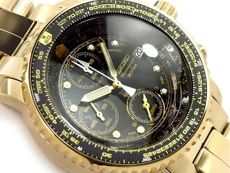 Seiko パイロットアラームクロノ graph mens Watch Gold black dial stainless steel gold SNA414P1