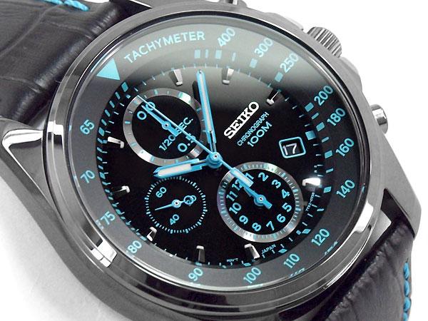 【逆輸入 SEIKO】セイコー クォーツ 高速クロノグラフ メンズ 腕時計 ブラック×ブルーダイアル ブラックレザーベルト SNDD71P1【あす楽】