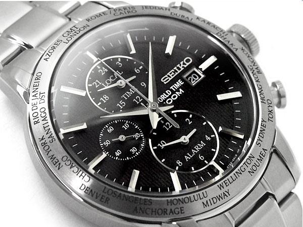 【逆輸入 SEIKO】逆輸入 セイコー GMT ワールドタイム アラーム機能搭載 メンズ 腕時計 ブラックダイアル シルバー ステンレスベルト SPL049P1【あす楽】