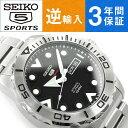 【逆輸入 SEIKO5 SPORTS】自動巻き 手巻き付き機械式 メンズ 腕時計 ブラック×シルバー ステンレスベルト SRPA03K1【…