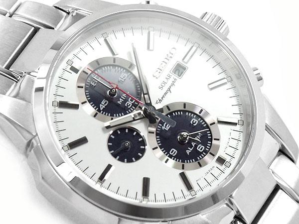 【正規品 逆輸入 SEIKO】セイコー ソーラー センタークロノグラフ アラーム機能搭載 メンズ 腕時計 シルバー×ネイビーダイアル シルバー ステンレスベルト SSC083P1【あす楽】