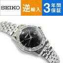 【逆輸入 SEIKO】セイコー クォーツ レディース腕時計 ブラックダイアル シルバーステンレスベルト SUR733P1【AYC】