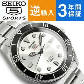 【逆輸入 SEIKO5 SPORTS】セイコー5スポーツ 自動巻き 手巻き付き機械式 メンズ 腕時計 シルバーダイアル シルバーステンレスベルト SRPB87K1【あす楽】