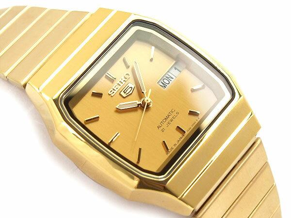 【国内正規品】【逆輸入 SEIKO5】セイコー5 日本製 機械式自動巻き メンズ 腕時計 オールゴールド ステンレスベルト 【当店でのサイズ調節不可】 SNXK90J1【あす楽】