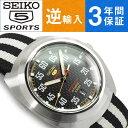【逆輸入SEIKO5 SPORTS】日本製 セイコーファイブスポーツ 限定品 自動巻き手巻付 メンズ腕時計 ブラック×ホワイト ナイロンベルト SRPA93J1【AYC】