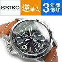 【逆輸入 SEIKO】セイコー ソーラー クロノグラフ ブラックダイアル ブラウンレザーベルト SSC081P1【あす楽】