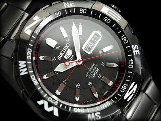 Seiko 5 sports mens automatic watch black dial black IP black stainless steel belt SNZJ11J1