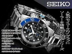 【逆輸入SEIKO】セイコークロノグラフメンズ腕時計ダイバーズソーラーブラックダイアルシルバーステンレスベルトSSC017P1