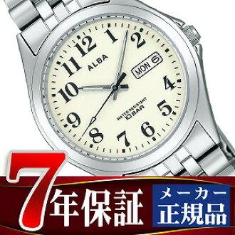 Seiko Alba standard screw lock mens watch White x silver AIGT007