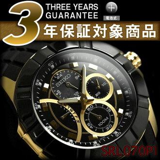 Seiko road men's multifunction Watch Gold × SRL070P1 black polyurethane belt