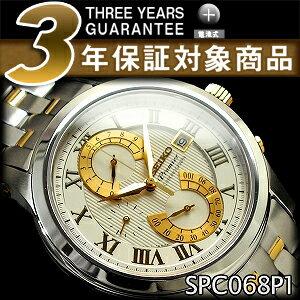 【逆輸入SEIKO Premier】セイコー プルミエ メンズ ダブルレトログラードクロノグラフ 腕時計 シルバー×ゴールド ステンレスベルト SPC068P1【あす楽】