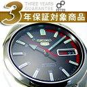 【逆輸入SEIKO5】セイコー5 セイコーファイブ メンズ自動巻き腕時計 ブラックダイアル シルバーステンレスベルト レッ…
