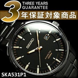 Seiko men's kinetic watch black dial black stainless steel belt SKA531P1