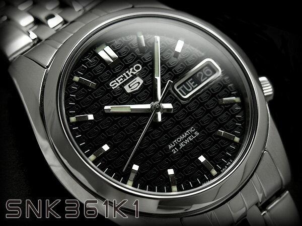 セイコー セイコー5 SEIKO5 セイコーファイブ メンズ 腕時計 SNK361 逆輸入セイコー 自動巻き メカニカル 機械式 オートマチック ブラック メタルベルト SNK361K SNK361K1 3年保証 メンズ 腕時計 男性用 seiko5 日本未発売 ビジネス【楽ギフ_包装】【あす楽】