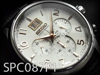 男子的精工計時儀手表ギョーシェ雕刻白×玫瑰黄金撥盤黑色皮革皮帶SPC087P1 P12Sep14