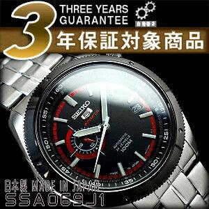 【日本製逆輸入SEIKO 5 SPORTS】セイコー5 手巻き&自動巻き式 メンズ腕時計 ブラックダイアル ステンレスベルト SSA069J1