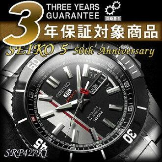精工 100 周年纪念有限的模型精工 5 体育男装自动缠绕手表黑色挡板哑光黑拨号银色不锈钢带 SRP427K1