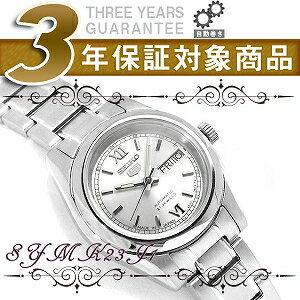 【日本製逆輸入SEIKO 5】セイコー5 自動巻き+手巻き レディース腕時計 ホワイトシルバーダイアル シルバーステンレスベルト SYMK23J1【AYC】