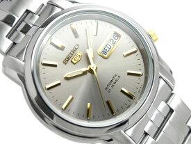 【逆輸入SEIKO5】セイコー5 メンズ自動巻き腕時計 グレー×ゴールドダイアル シルバーステンレスベルト SNKK67K1