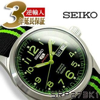 Seiko 5 Sports Mens Automatic Winding Watch Black X Green Dial Nato Nylon Belt Srp273k1