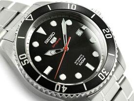 【逆輸入 SEIKO5 SPORTS】セイコー5スポーツ 自動巻き 手巻き付き機械式 メンズ 腕時計 ブラックダイアル シルバーステンレスベルト SRPB91K1