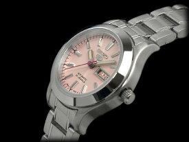 【逆輸入SEIKO5】セイコー 5 自動巻 手巻式 レディース 腕時計 ピンクダイアル メタルベルト SYMD91K1