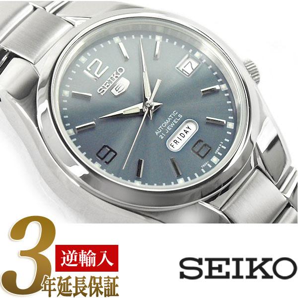 【逆輸入 SEIKO5】セイコー5 セイコーファイブ 機械式自動巻き メンズ 腕時計 ブルーシルバーダイアル ステンレスベルト SNK621K1【あす楽】