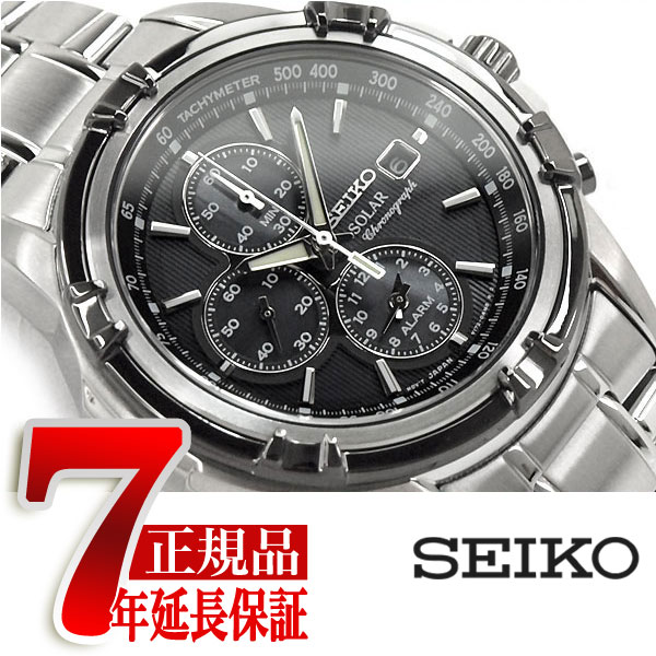 【10%オフ!お買物マラソン】【正規品 逆輸入 SEIKO】セイコー ソーラー センタークロノグラフ アラーム機能搭載 メンズ 腕時計 IPブラック×シルバーベゼル ブラックダイアル シルバー ステンレスベルト SSC147P1