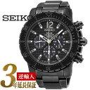 【逆輸入SEIKO】セイコー ソーラー クロノグラフ メンズ腕時計 グレーダイアル IPブラック ステンレスベルト SSC225P1