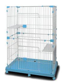 ペットケージ キャットケージ 2段タイプ 【組み立て実演動画有】 プラケージ ケージ 子猫 猫 猫用 ねこ ネコ CAT 猫ケージ 子犬 犬 いぬ イヌ うさぎ ウサギ 多段ケージ ペット 1段 2段 キャスター付き ブルー 青色 送料無料 A55BP225B3A3