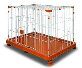 ペットケージ ケージ 1段タイプ 【組み立て実演動画有】 プラケージ 犬 ゲージ サークル 犬ゲージ ハウス 小屋 ペット 小型犬 犬用 猫 猫用 ねこ ネコ CAT 猫ケージ うさぎ ウサギ モルモット 1段 キャスター付き オレンジ 橙色 送料無料 A55BP22S2