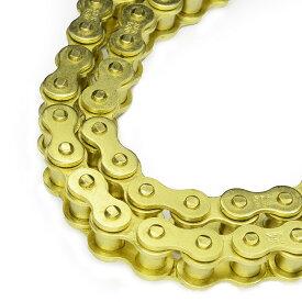 【自社SALE!】バイクチェーン フルゴールドチェーン 525-120L ゴールドチェーン 【バイクチェーン 消音タイプ】 送料無料 A59GBD