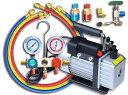 エアコンガスチャージ&真空ポンプ R134a R12 R22 R502 対応冷媒 カーエアコン ルームエアコン [空調 充填 補充 工具 …