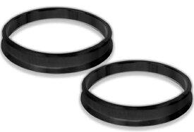 アルミ製 ハブリング 67.1mm→57.1mm ブラック 黒 ツバ付 2枚セット 【ホイール 交換 ハブ 車 傘付 アルミホイール HUBリング】 送料無料 B09CKSET2