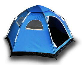 【設営動画有り】 キャンプ テント ワンタッチテント 2人 3人 4人用 サンシェード 組み立て簡単 キャンプ用品 簡易テント キャンピングテント アウトドアテント 防災用テント ヘキサゴン 6角 サンシェードテント 登山 防災 青 送料無料 ODTT5BL
