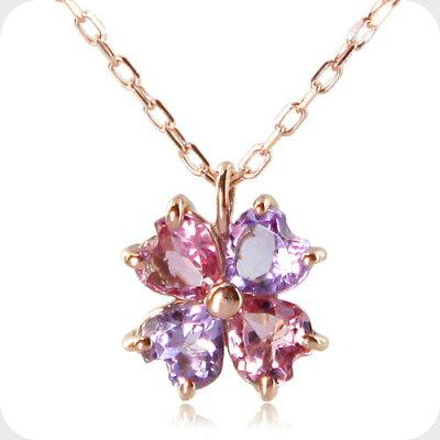 四つ葉のピンククローバーネックレス-Jewelry_Museum_ジュエリーミュージアム