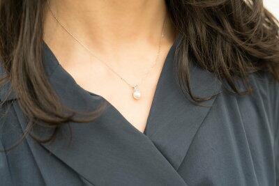 アコヤ真珠とダイヤモンドのネックレスモデル-Jewelry_Museum_ジュエリーミュージアム